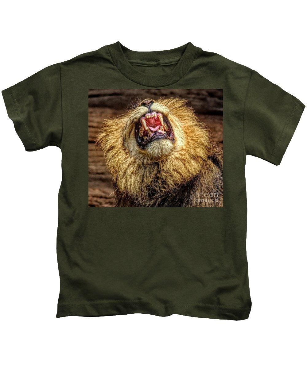 Lion Kids T-Shirt featuring the photograph Hear Me Roar by Paulette Thomas