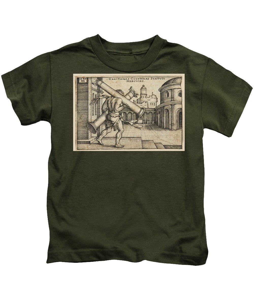 Sebald Beham Kids T-Shirt featuring the drawing Hercules Carrying The Columns Of Gaza by Sebald Beham