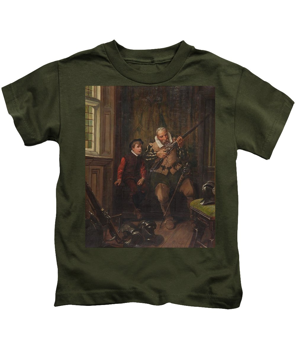 Alfred Dixon (fl. 1864-1891) In The Armoury Kids T-Shirt featuring the painting In The Armoury by Alfred Dixon