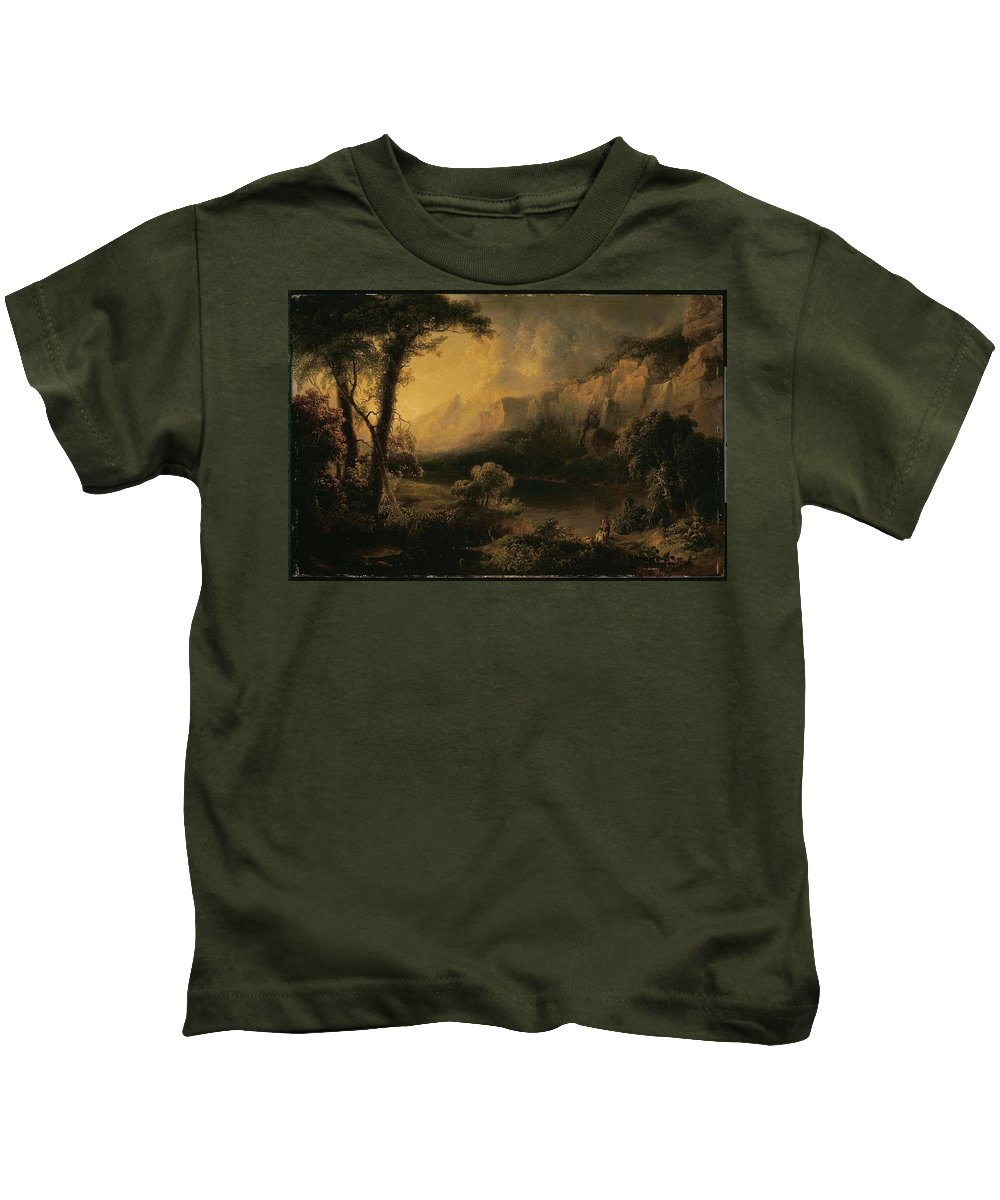 Lake And Mountains Kids T-Shirt featuring the painting Lake And Mountains by MotionAge Designs