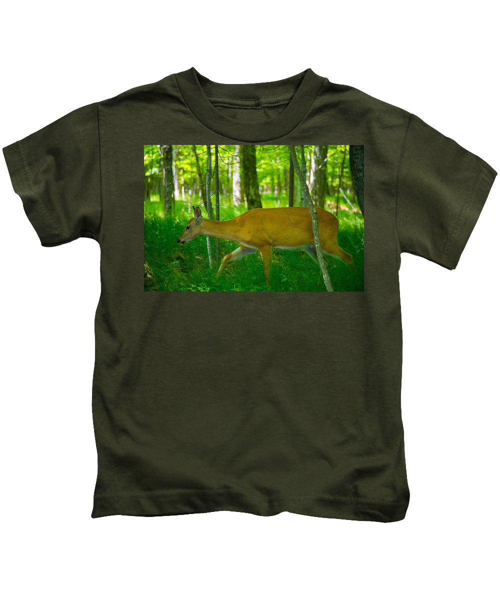 Whitetail Deer Kids T-Shirt featuring the photograph Michigan Whitetail by Michael Tucker