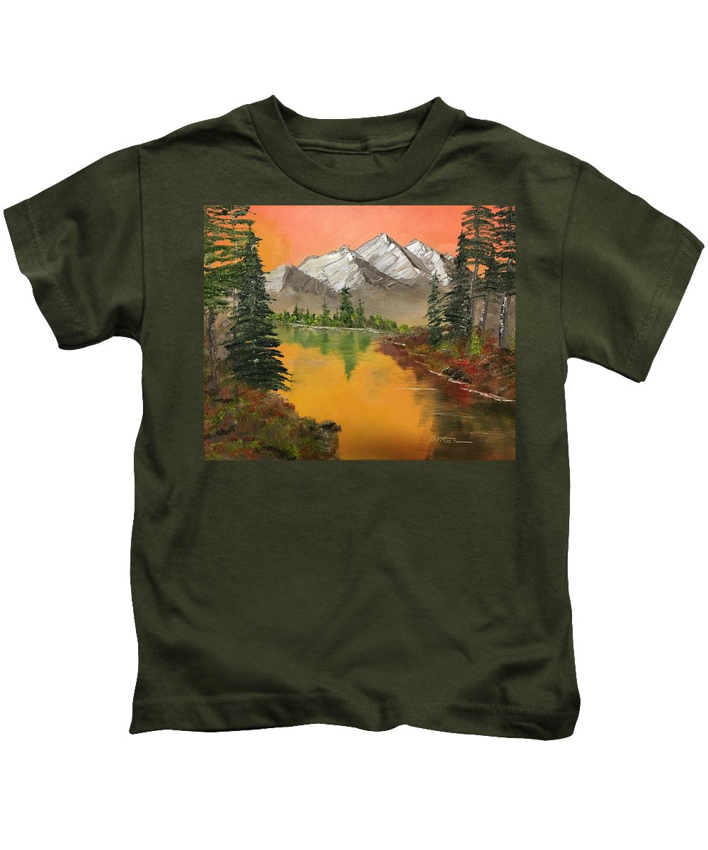 Lake Kids T-Shirt featuring the painting Pine Lake by David Bartsch