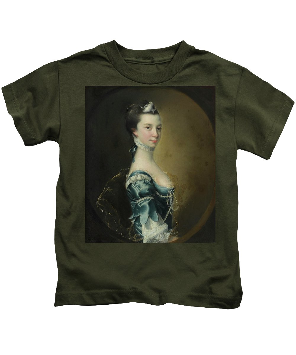 Joseph Wright Of Derby Kids T-Shirt featuring the painting Portrait Of A Young Lady by Joseph Wright
