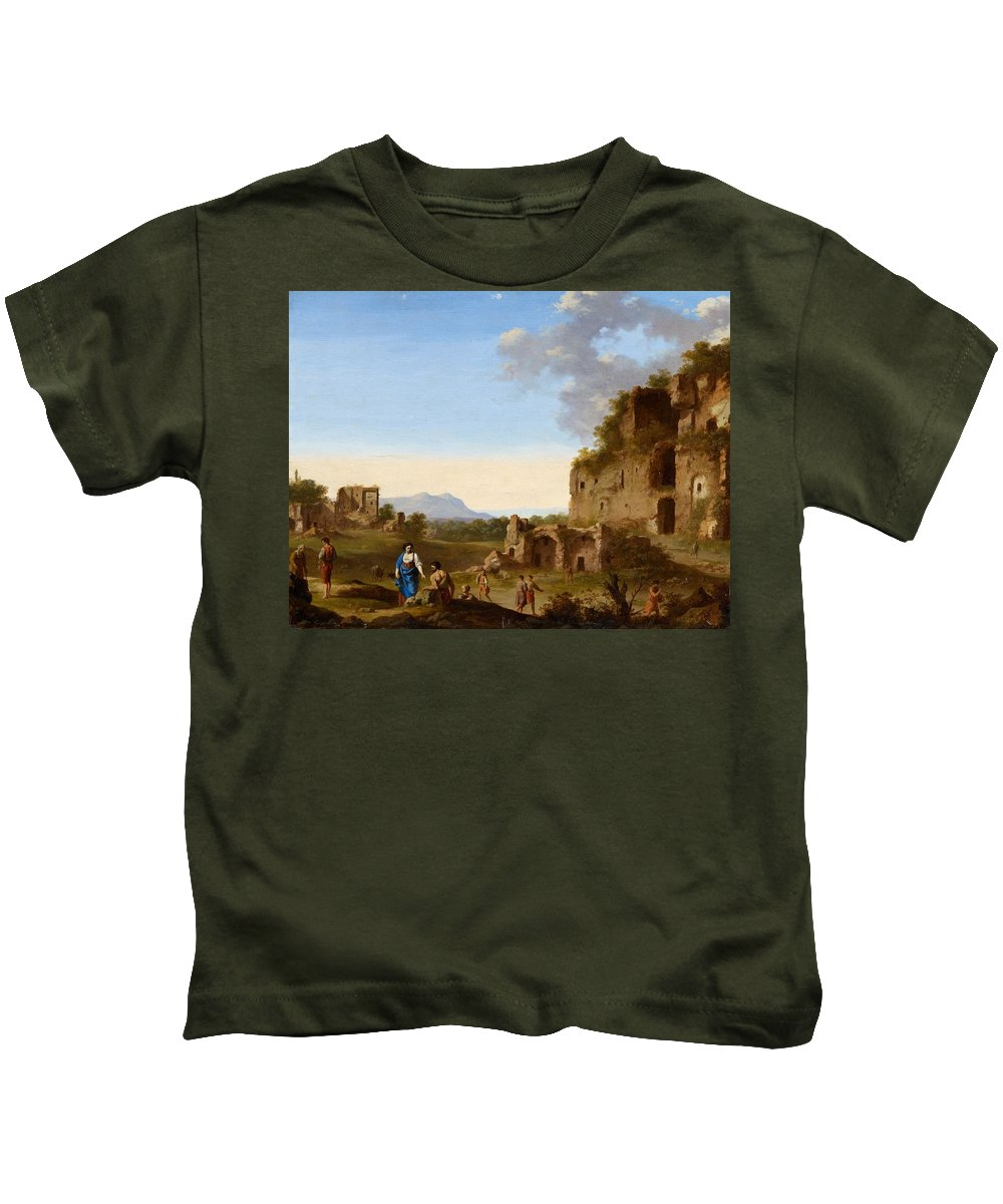 Cornelis Van Poelenburgh Kids T-Shirt featuring the painting Roman Landscape With Ruins And Travellers by MotionAge Designs