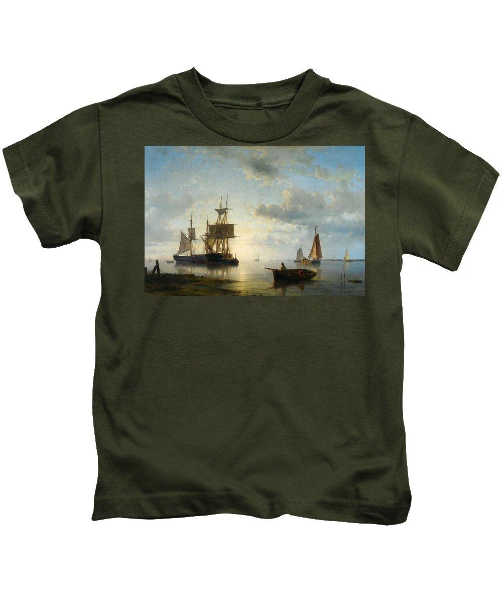 Abraham Hulk Kids T-Shirt featuring the painting Sailing Ships At Dusk by Abraham Hulk