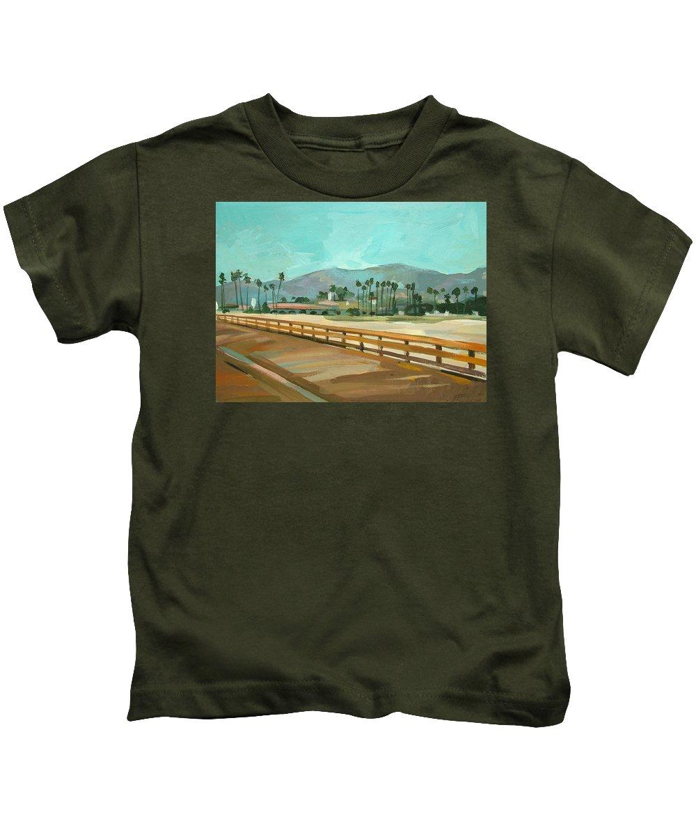 Pier Kids T-Shirt featuring the painting Santa Barbara by Filip Mihail