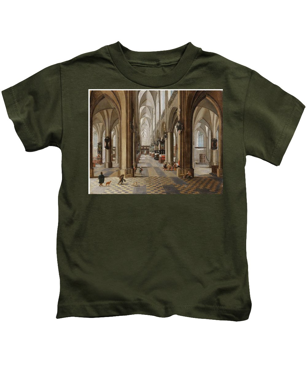 Peeter Neeffs The Younger Kids T-Shirt featuring the painting The Interior Of The Onze Lieve Vrouwekerk In Antwerp by Peeter Neeffs