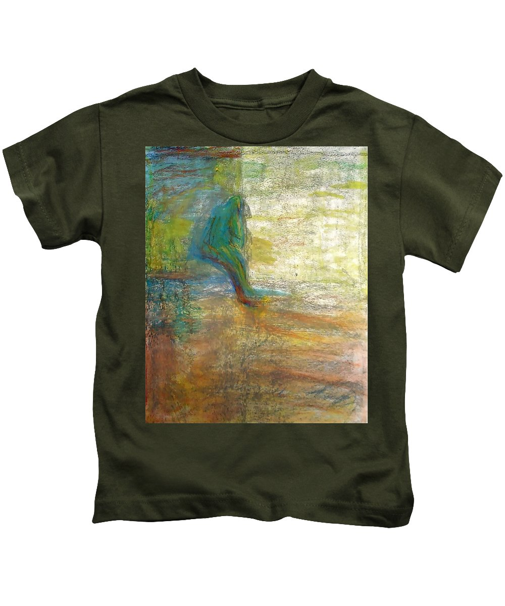 Thoughtful Kids T-Shirt featuring the mixed media Thinking by Contemporary Luxury Fine Art
