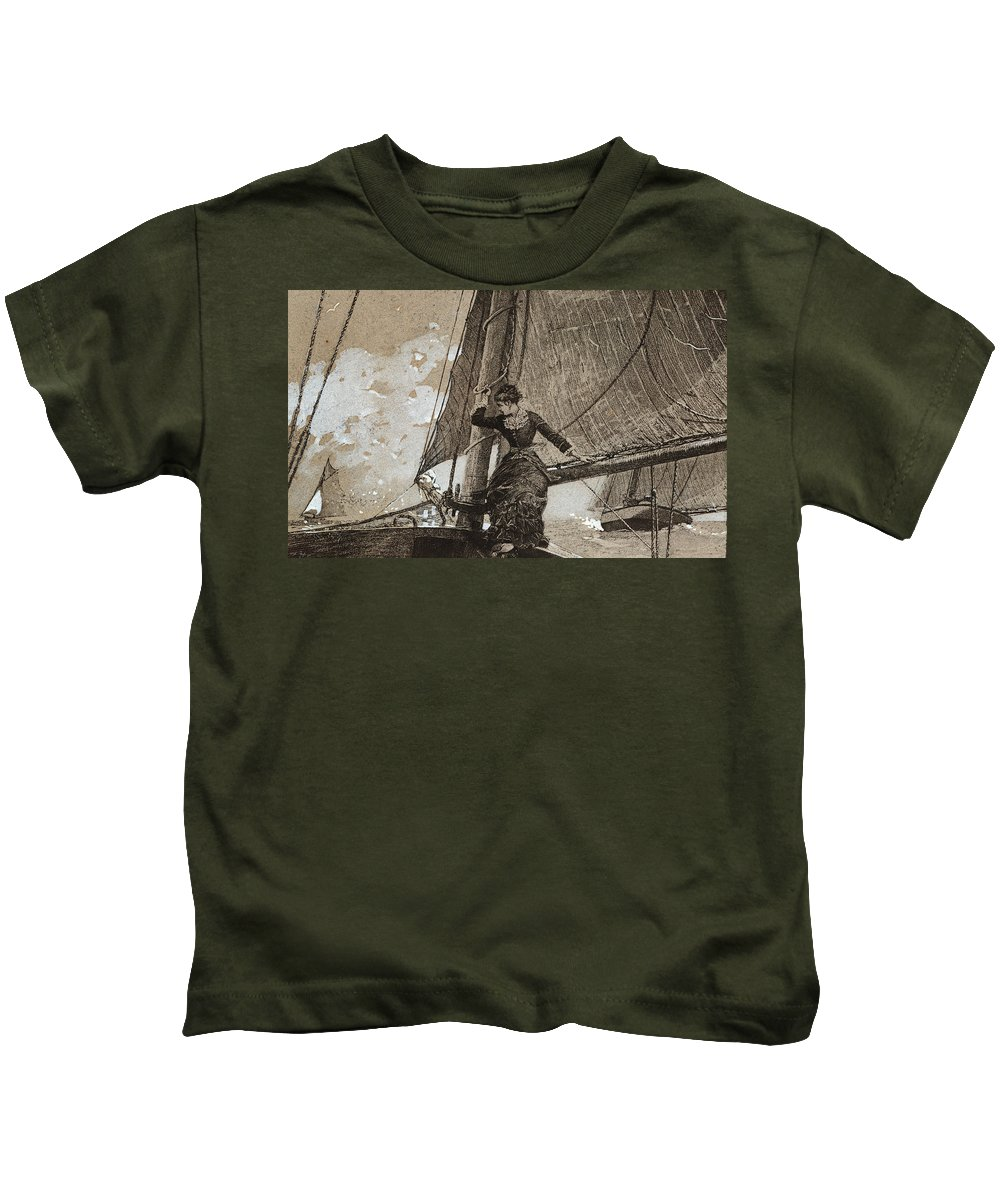 Yachting Girl Kids T-Shirt featuring the painting Yachting Girl by Winslow Homer
