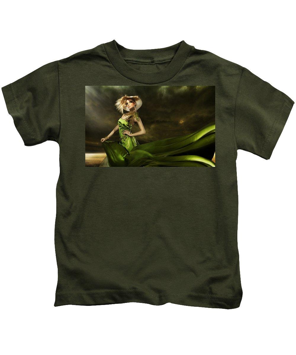 Model Kids T-Shirt featuring the digital art Model by Dorothy Binder