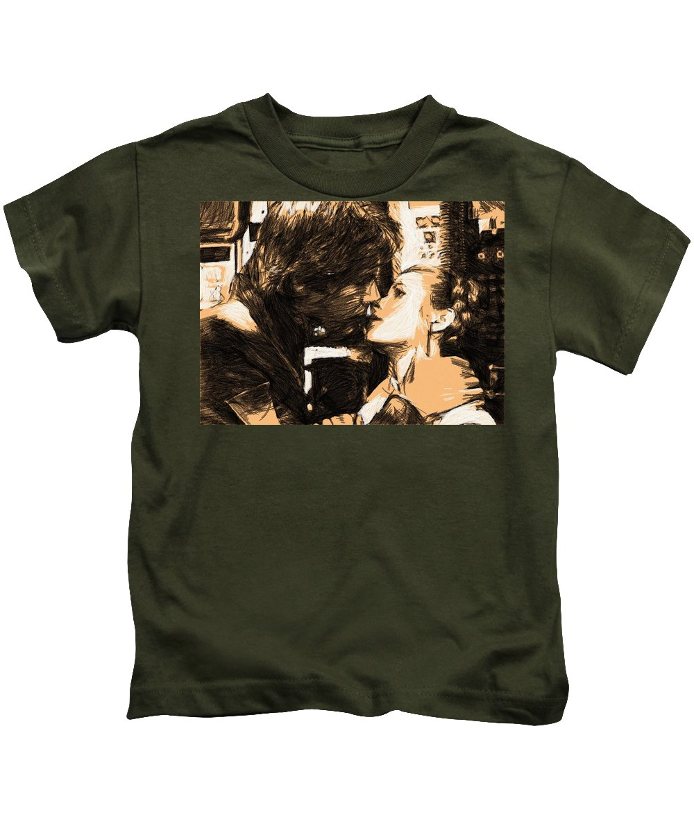 Star Wars Kids T-Shirt featuring the digital art Movie Star Wars Poster by Larry Jones