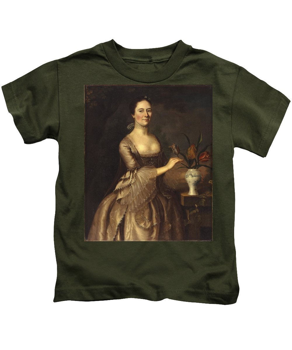 Portrait Of A Woman Kids T-Shirt featuring the painting Portrait Of A Woman by MotionAge Designs