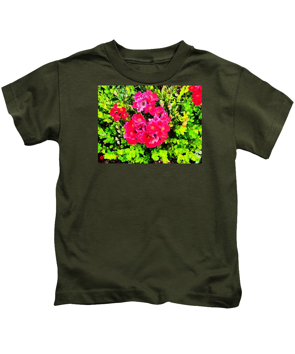 Flower Garden Idaho Photography Kids T-Shirt featuring the photograph Velvet Nights by Paul Stanner