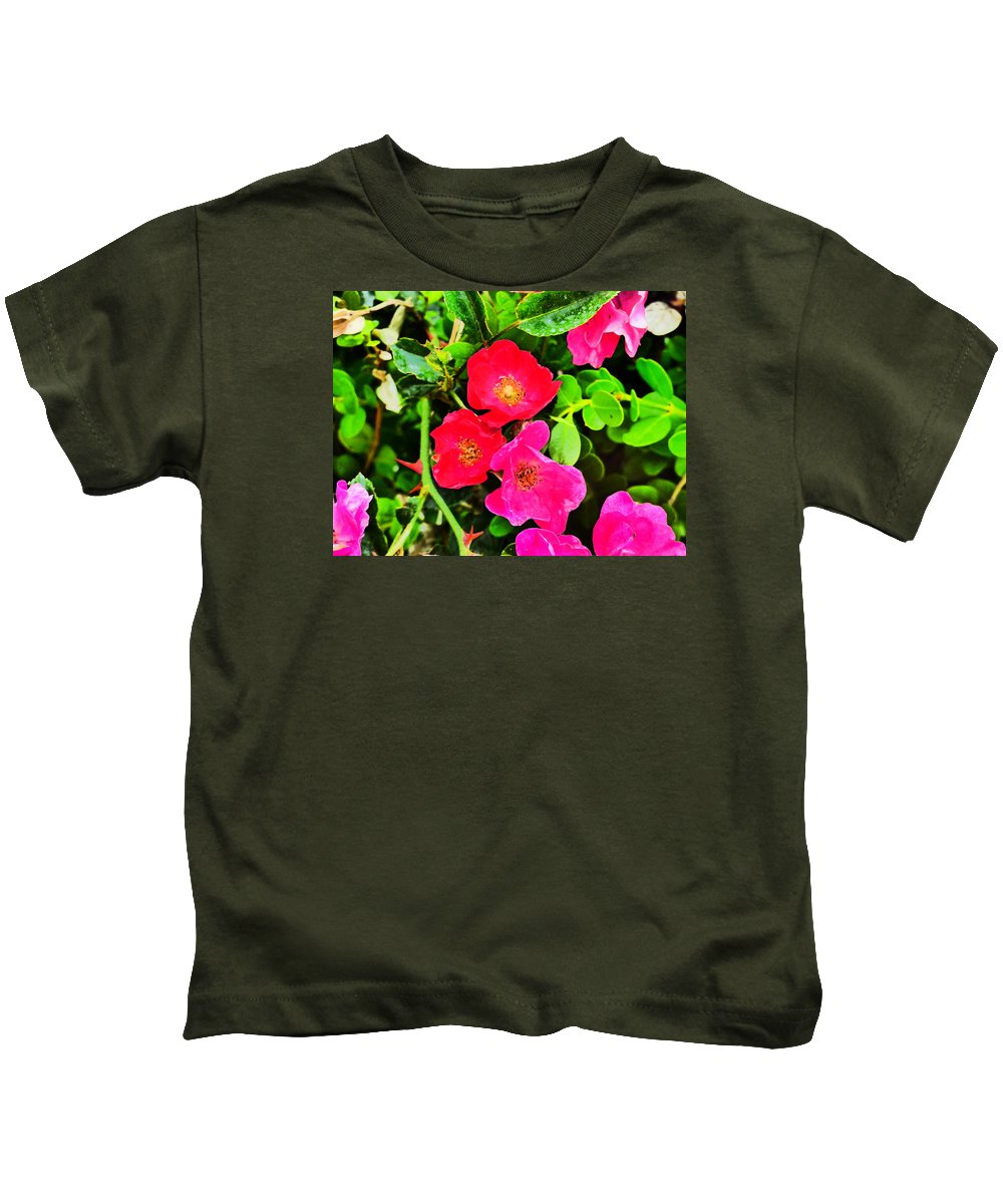 Flower Garden Idaho Photograaphy Kids T-Shirt featuring the photograph Velvet Nights by Paul Stanner