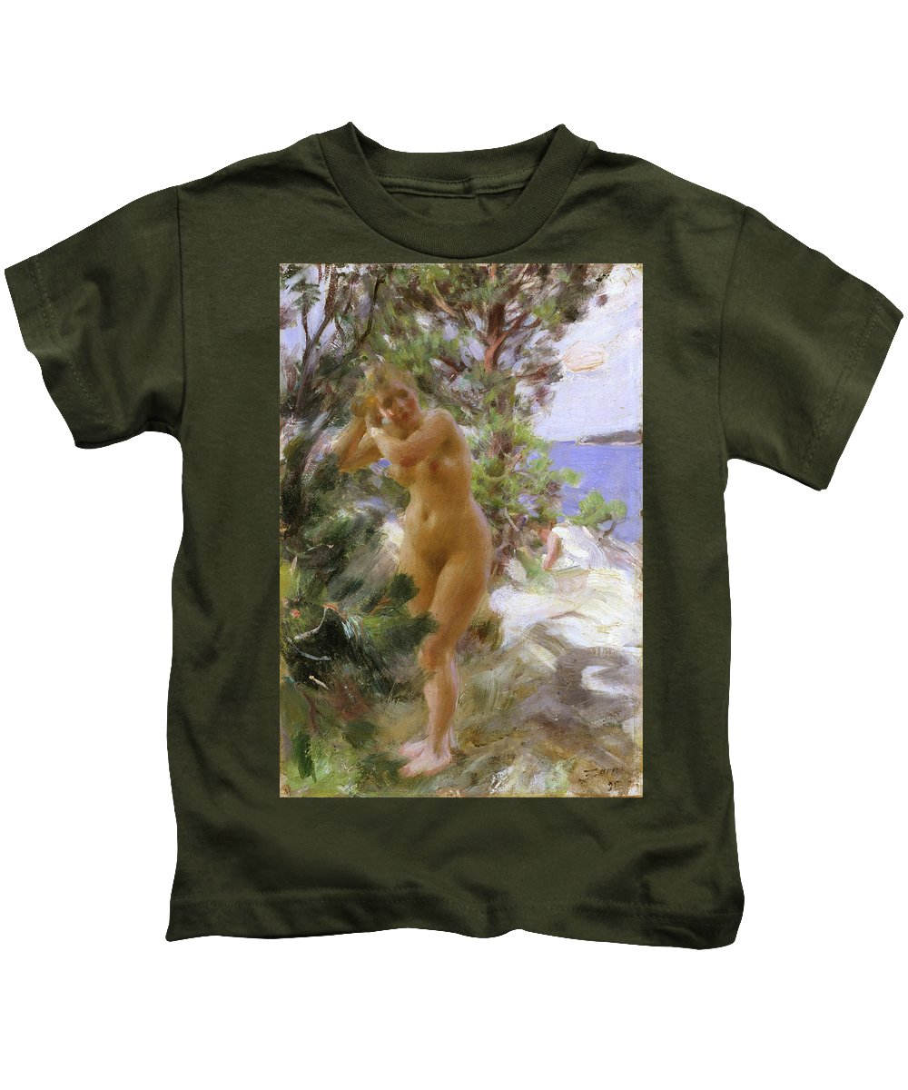 Anders Zorn Kids T-Shirt featuring the painting After The Bath by Anders Zorn