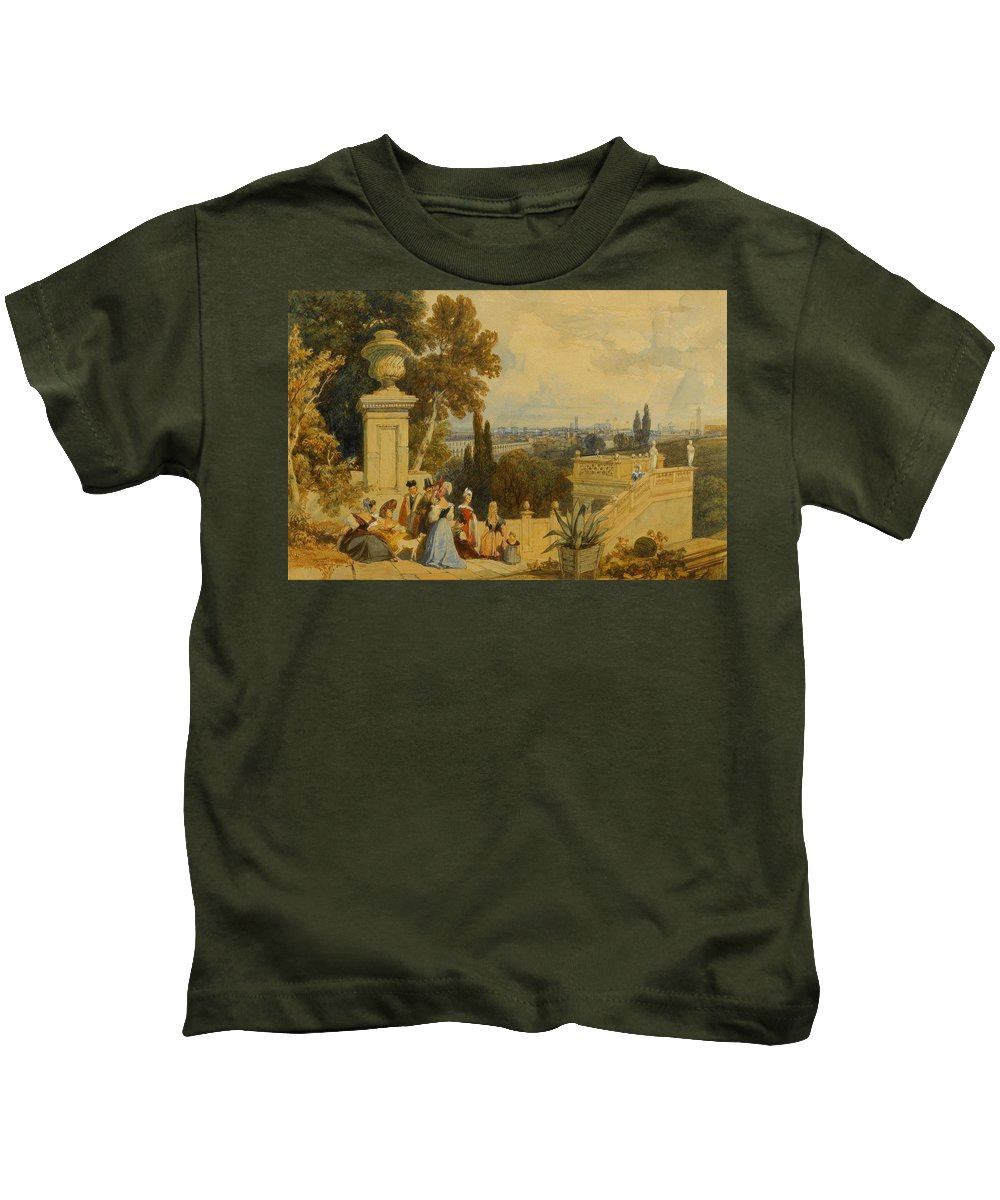 James Duffield Harding (london 1798 - London 1863) Kids T-Shirt featuring the painting Bologna by James Duffield