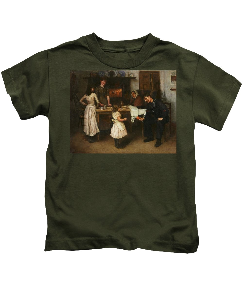 Family Scene In A Kitchen Kids T-Shirt featuring the painting Family Scene In A Kitchen by MotionAge Designs