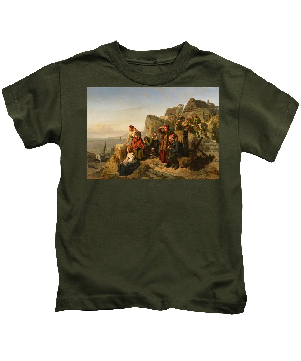 Rudolf Jordan Kids T-Shirt featuring the painting Fisher Families On The Coast by Rudolf Jordan