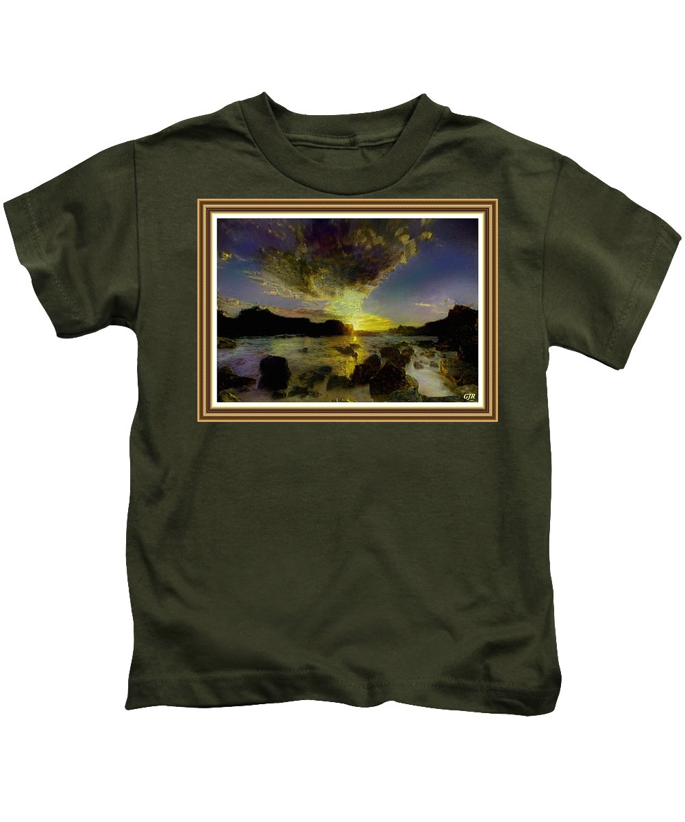 Oil Painting Landscape Kids T-Shirt featuring the digital art Glory Be To The Father, Glory Be To The Son, Glory Be To The Holy Ghost. L A S - Hudson River Style by Gert J Rheeders