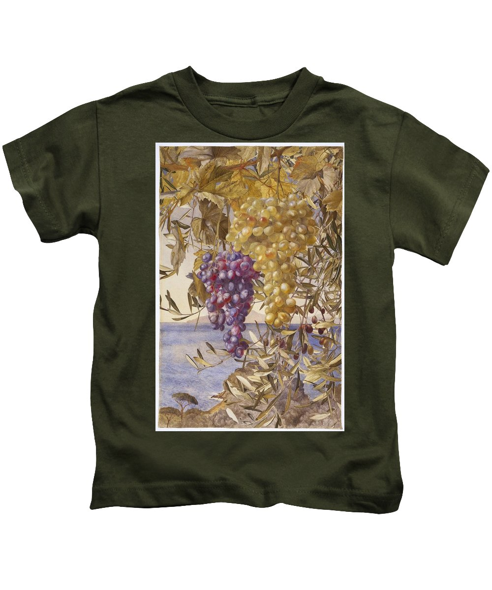 Henry Roderick Newman (american Kids T-Shirt featuring the painting Grapes And Olives by Henry Roderick