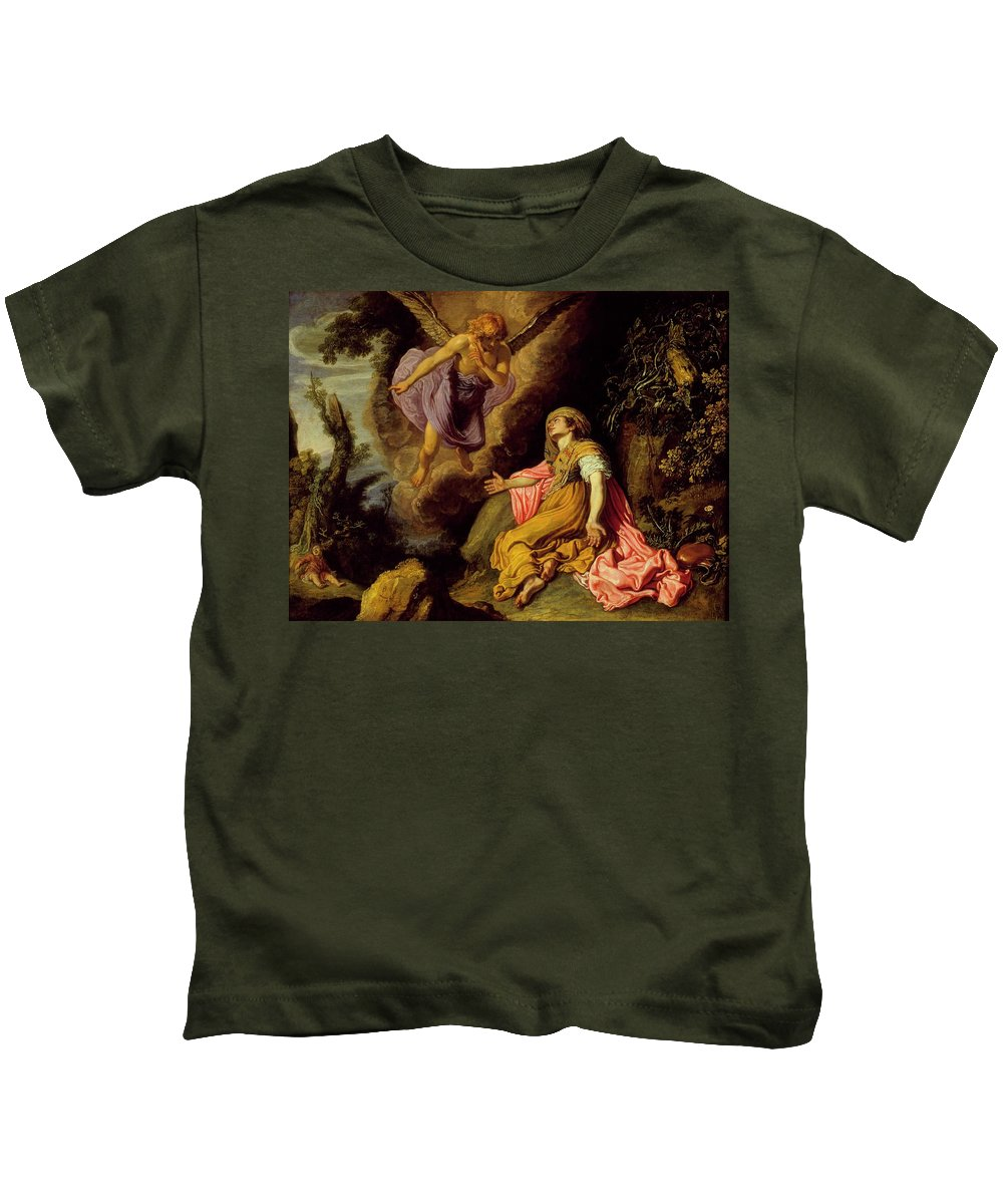 Pieter Lastman - Hagar And The Angel Kids T-Shirt featuring the painting Hagar And The Angel by MotionAge Designs