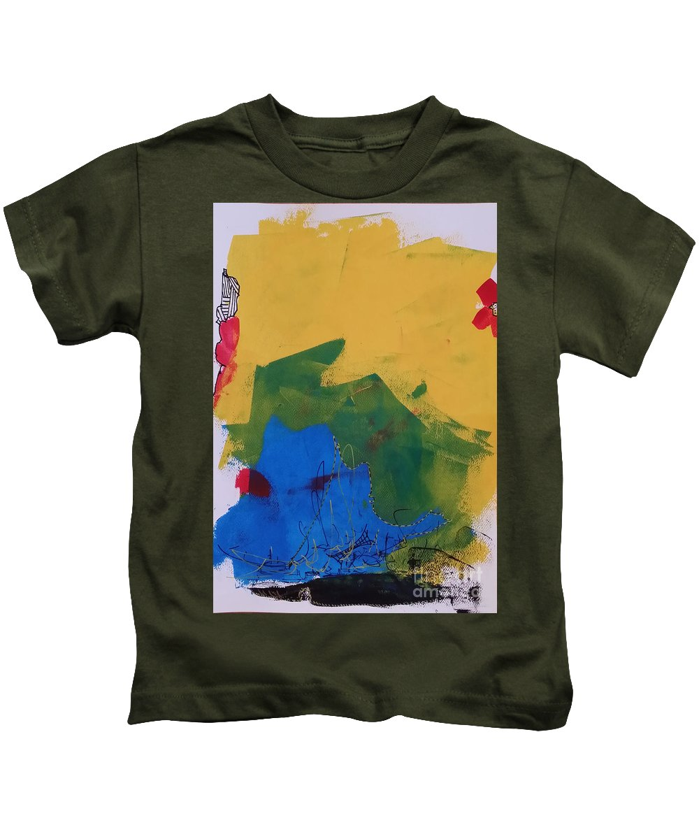 Abstract Kids T-Shirt featuring the painting No Name by Pinar Akbaba