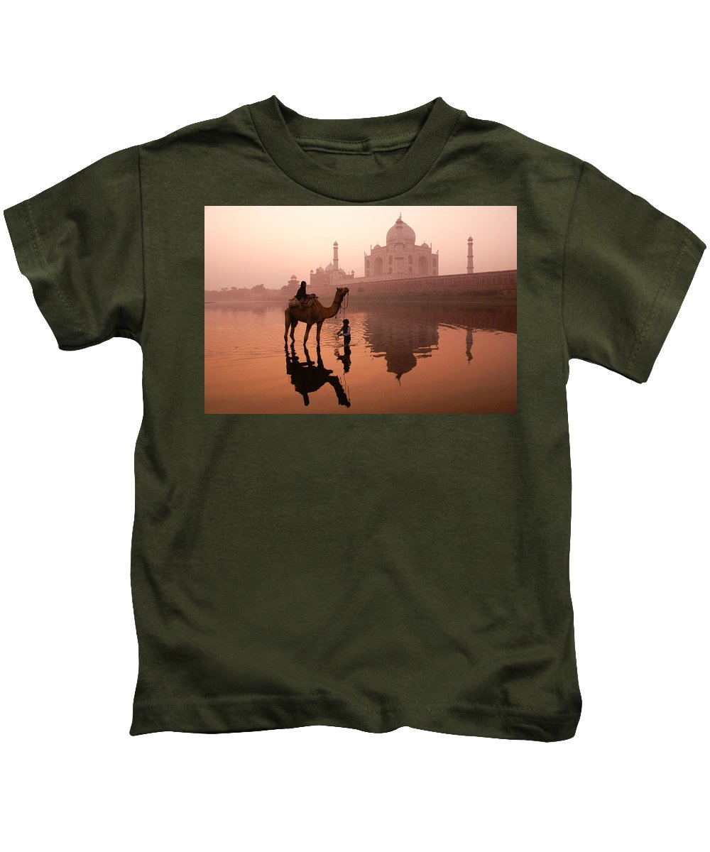 Taj Mahal Kids T-Shirt featuring the photograph Taj Mahal At Dawn by Michele Burgess