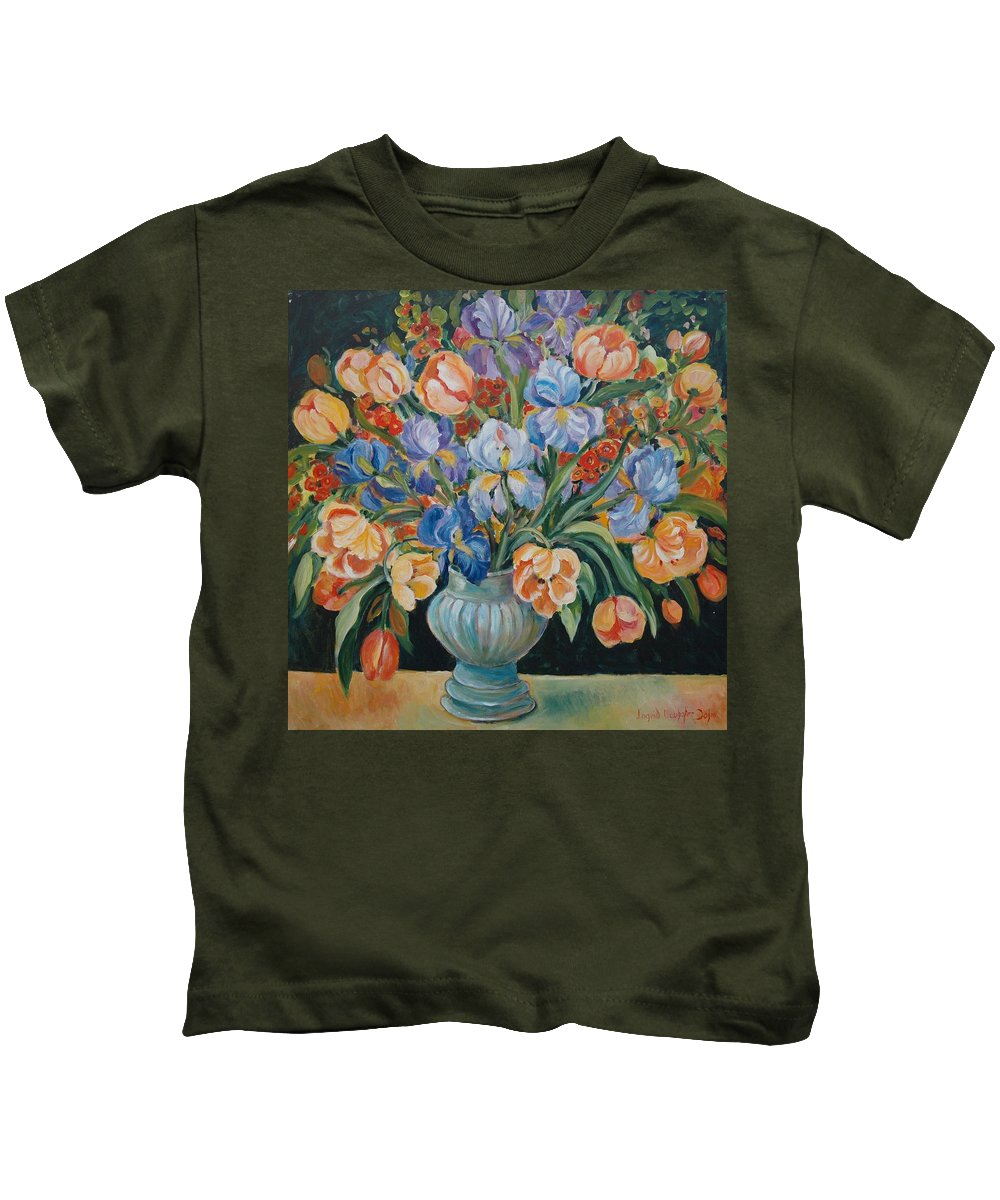 Still Life Kids T-Shirt featuring the painting Tulips by Ingrid Dohm
