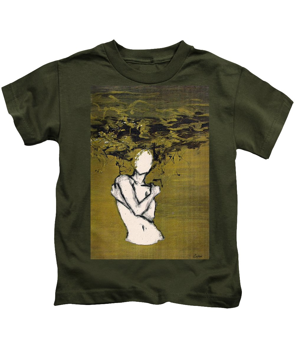 Gold Woman Hair Bath Nude Kids T-Shirt featuring the mixed media Untitled by Veronica Jackson
