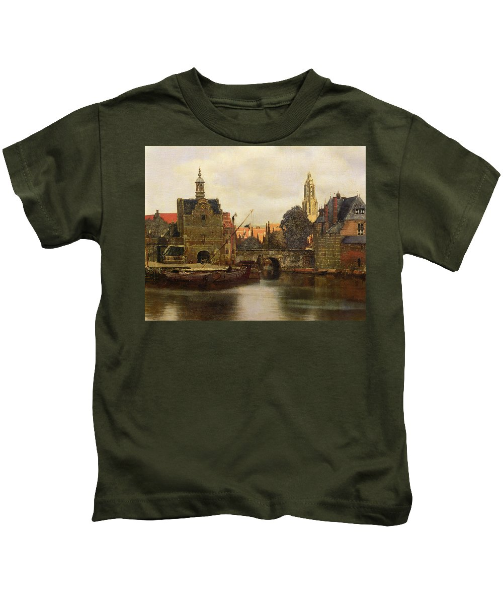 View Of Delft C.1660-61 (oil On Canvas) By Jan Vermeer (1632-75) Kids T-Shirt featuring the painting View Of Delft by Jan Vermeer