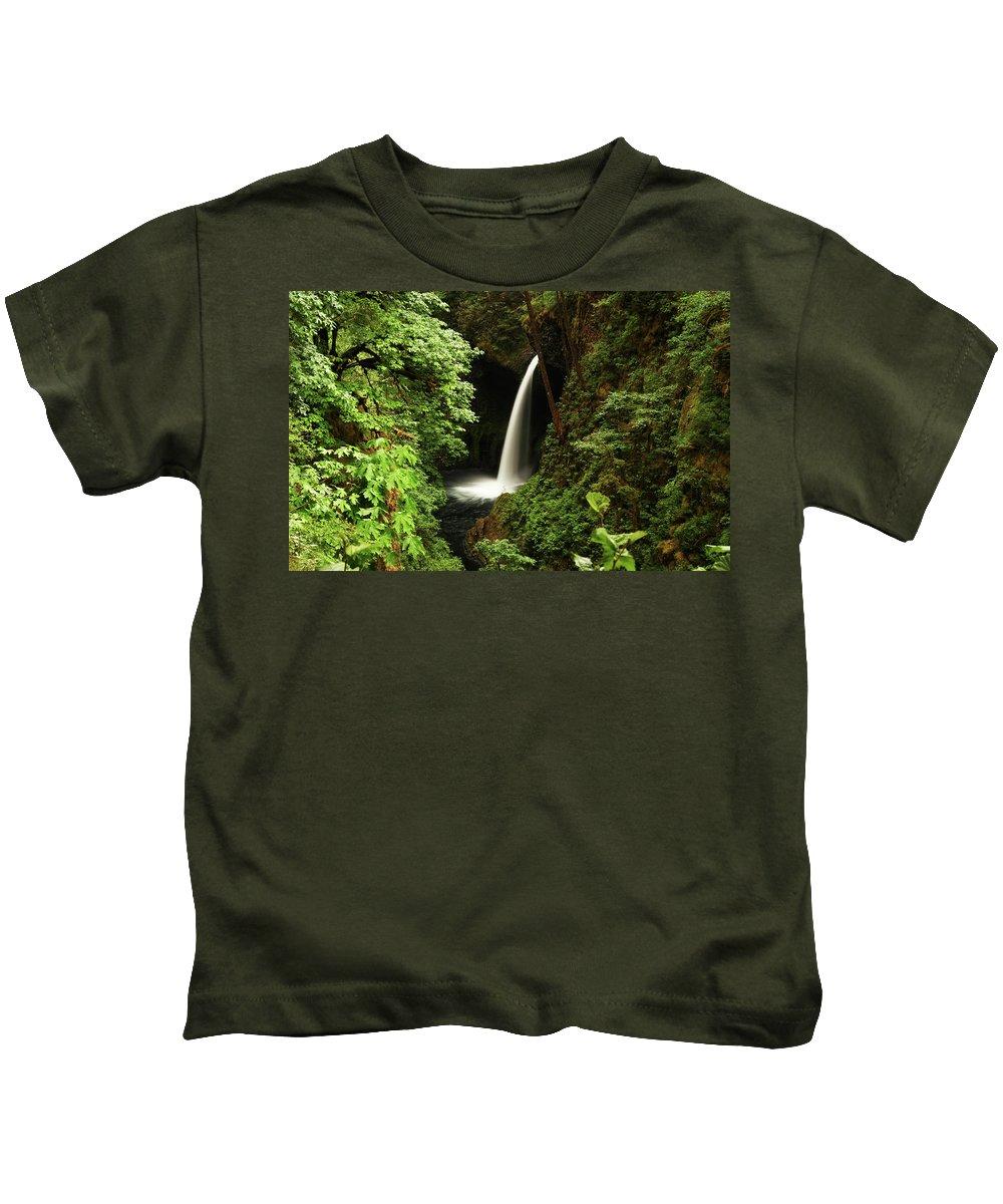 Waterfall Kids T-Shirt featuring the digital art Waterfall by Dorothy Binder
