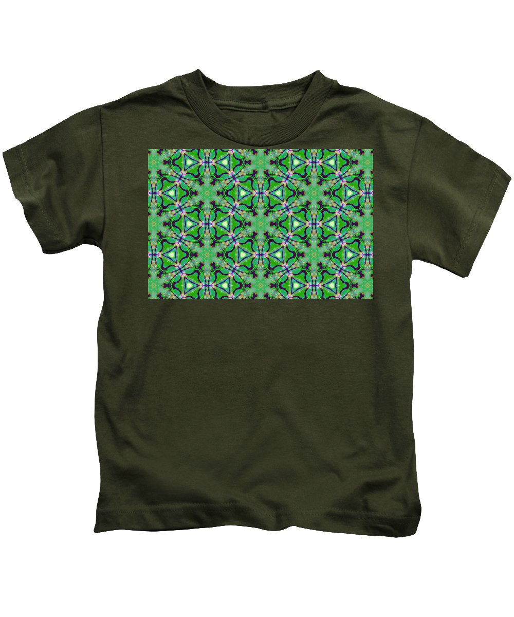 Marjan Mencin Kids T-Shirt featuring the digital art Arabesque 089 by Marjan Mencin