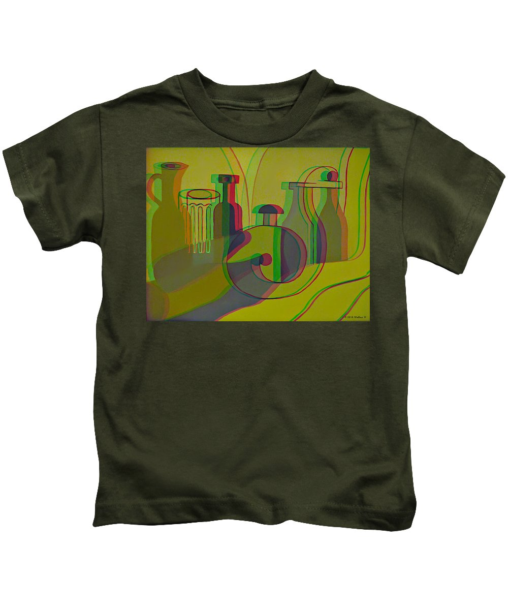 3d Kids T-Shirt featuring the painting 3d Stereo Cubism - Use Red-cyan 3d Glasses by Brian Wallace