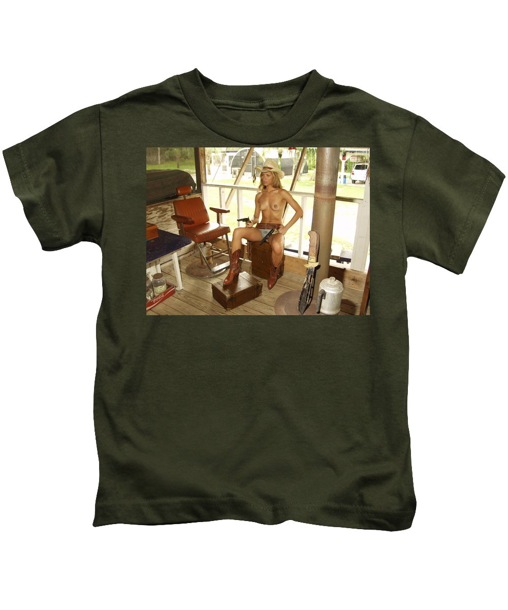 Lucky Cole Everglades Photographer Kids T-Shirt featuring the photograph Everglades Cowgirl by Lucky Cole