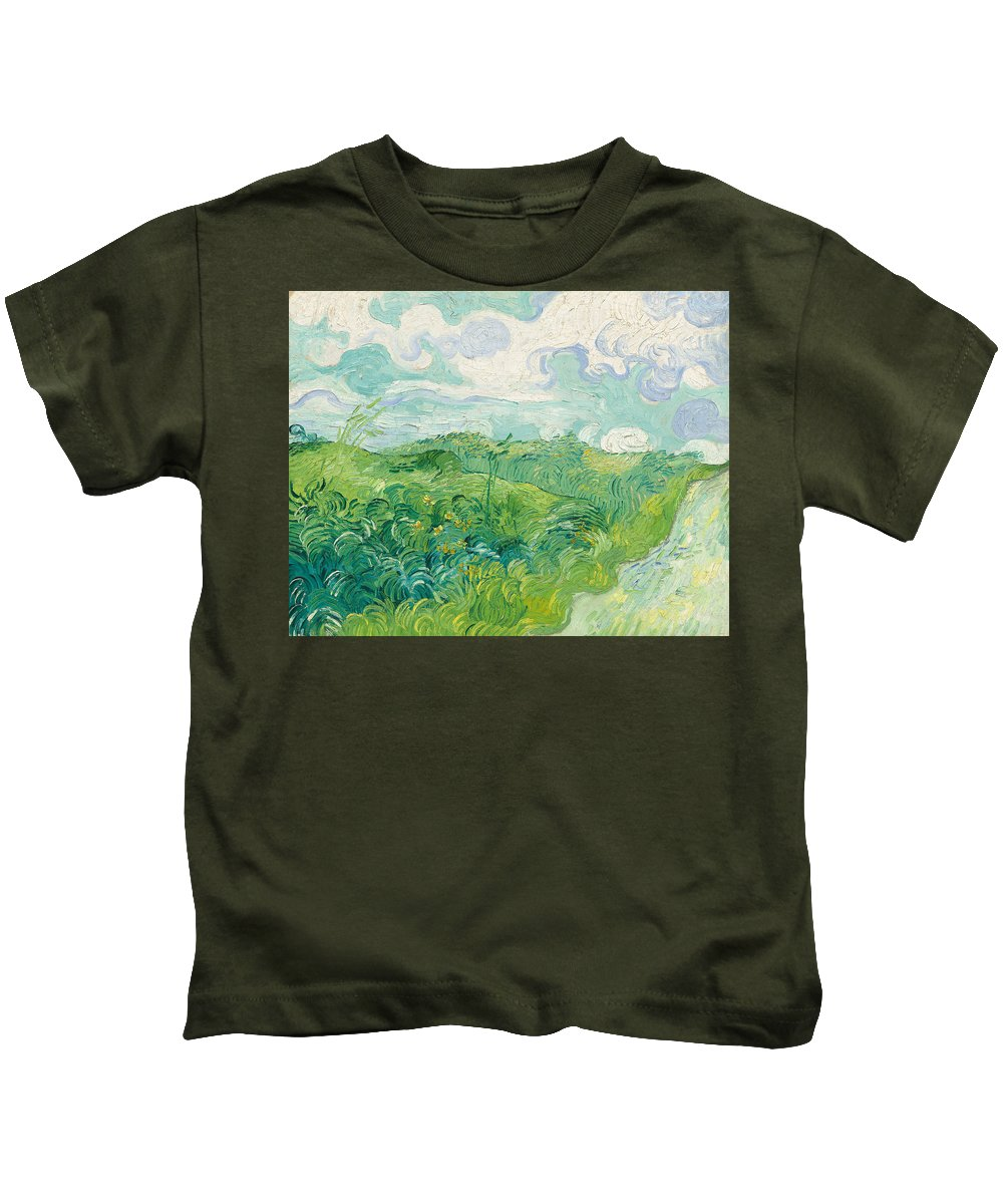 Clouds Kids T-Shirt featuring the painting Green Wheat Fields, Auvers by Vincent van Gogh