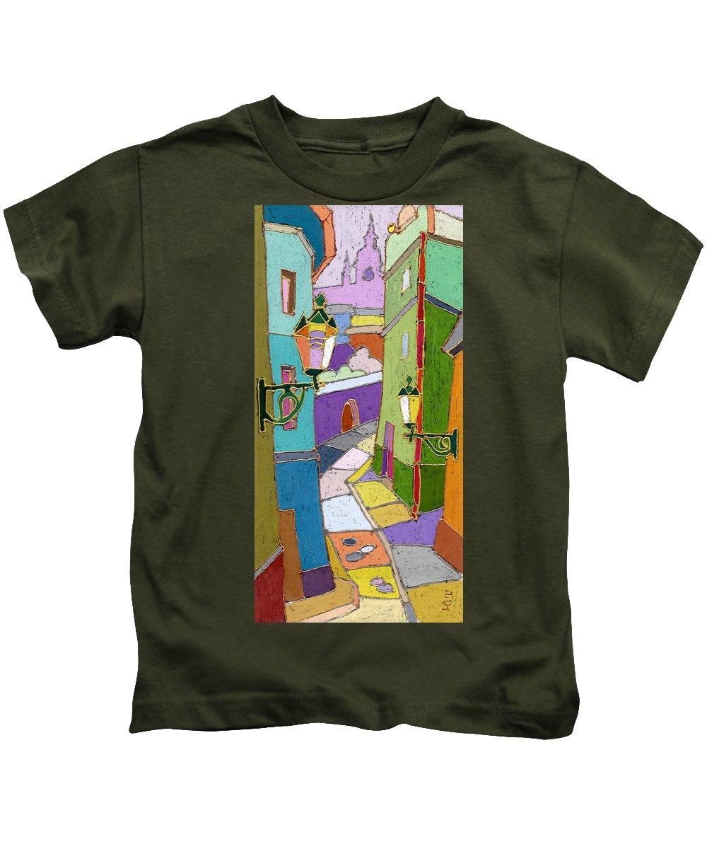 Pastel Kids T-Shirt featuring the painting Prague Old Street by Yuriy Shevchuk