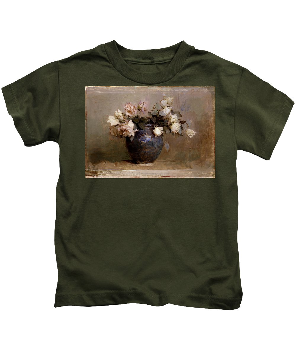 Abbott Thayer Kids T-Shirt featuring the painting Roses by Abbott Handerson Thayer