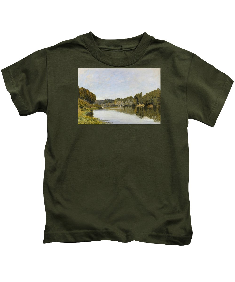 The Seine At Bougival Kids T-Shirt featuring the painting The Seine At Bougival by MotionAge Designs
