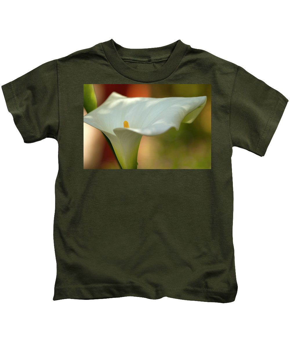 Calla Kids T-Shirt featuring the photograph White Calla by Heiko Koehrer-Wagner