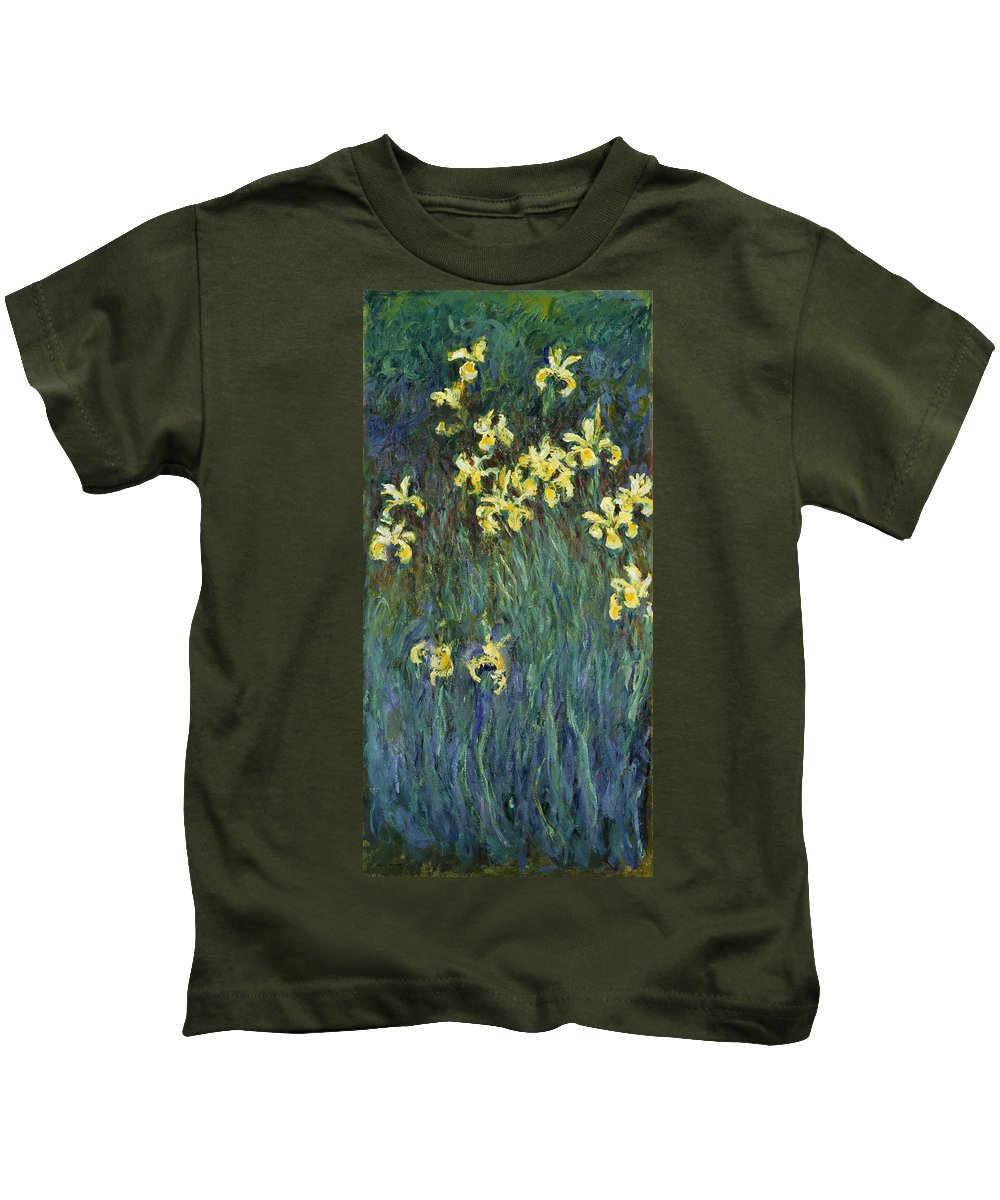 Claude Monet Kids T-Shirt featuring the painting Yellow Irises by Claude Monet
