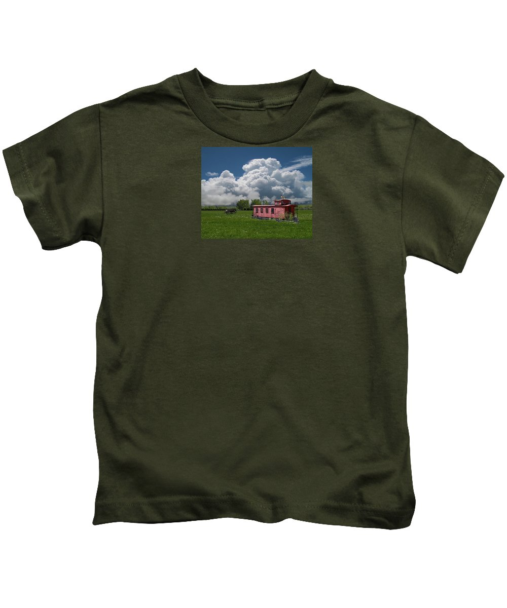 Caboose Kids T-Shirt featuring the photograph 4355 by Peter Holme III