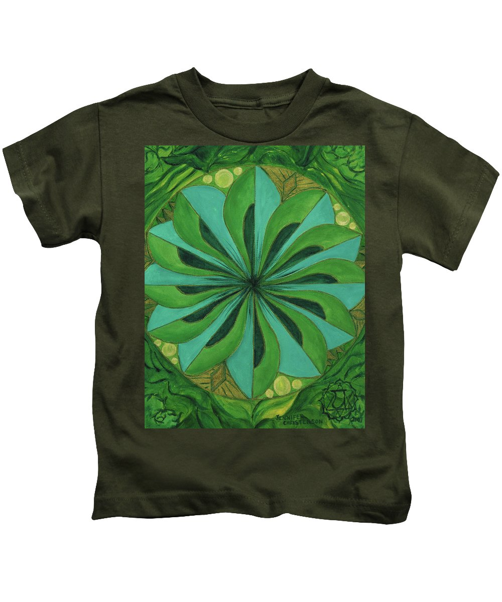Mandala Kids T-Shirt featuring the painting 4th Mandala - Heart Chakra by Jennifer Christenson