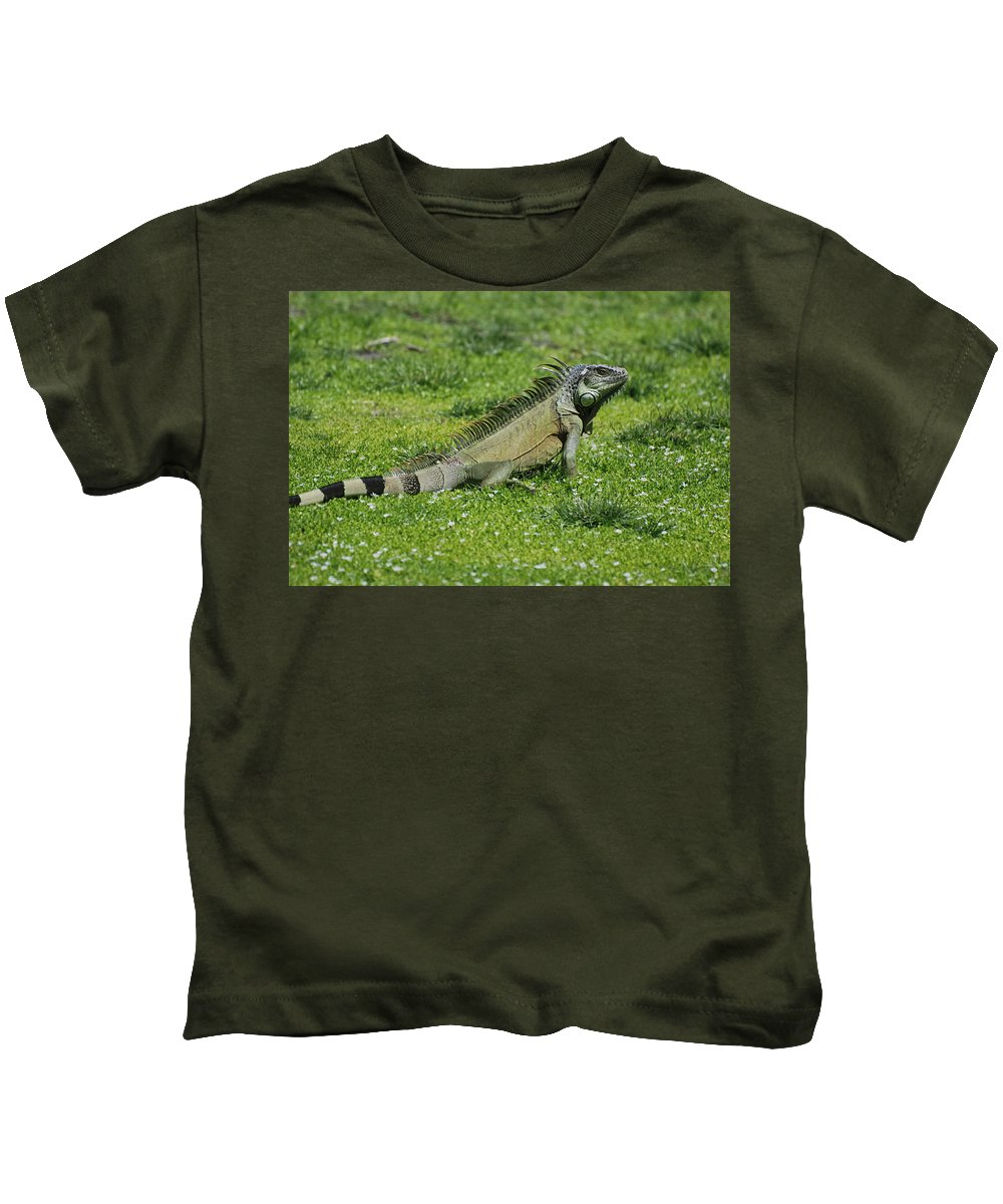 Macro Kids T-Shirt featuring the photograph I Iguana by Rob Hans