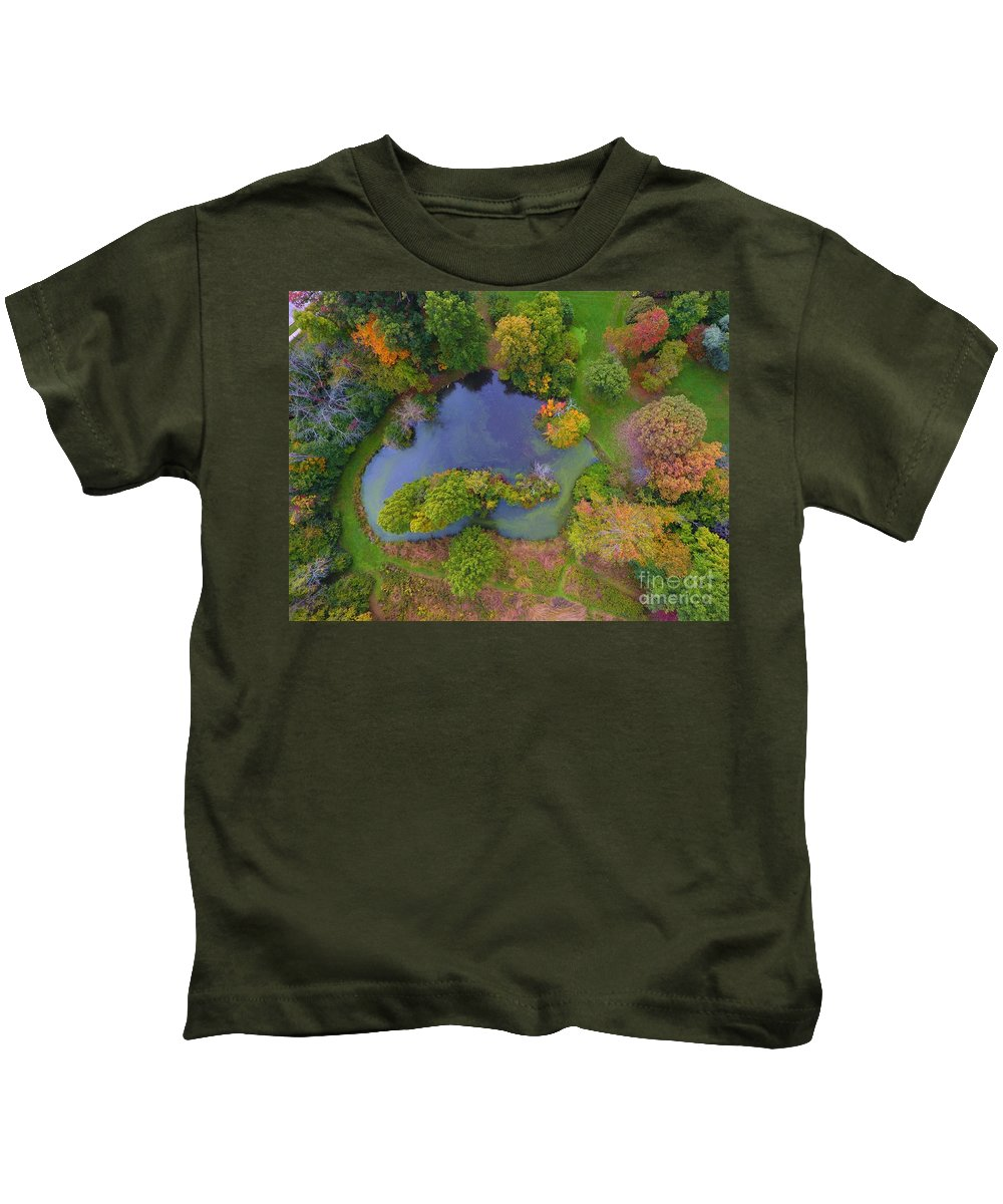 Kingwood Center Gardens Kids T-Shirt featuring the photograph Kingwood Center Gardens by Timeless Aerial Photography LLC