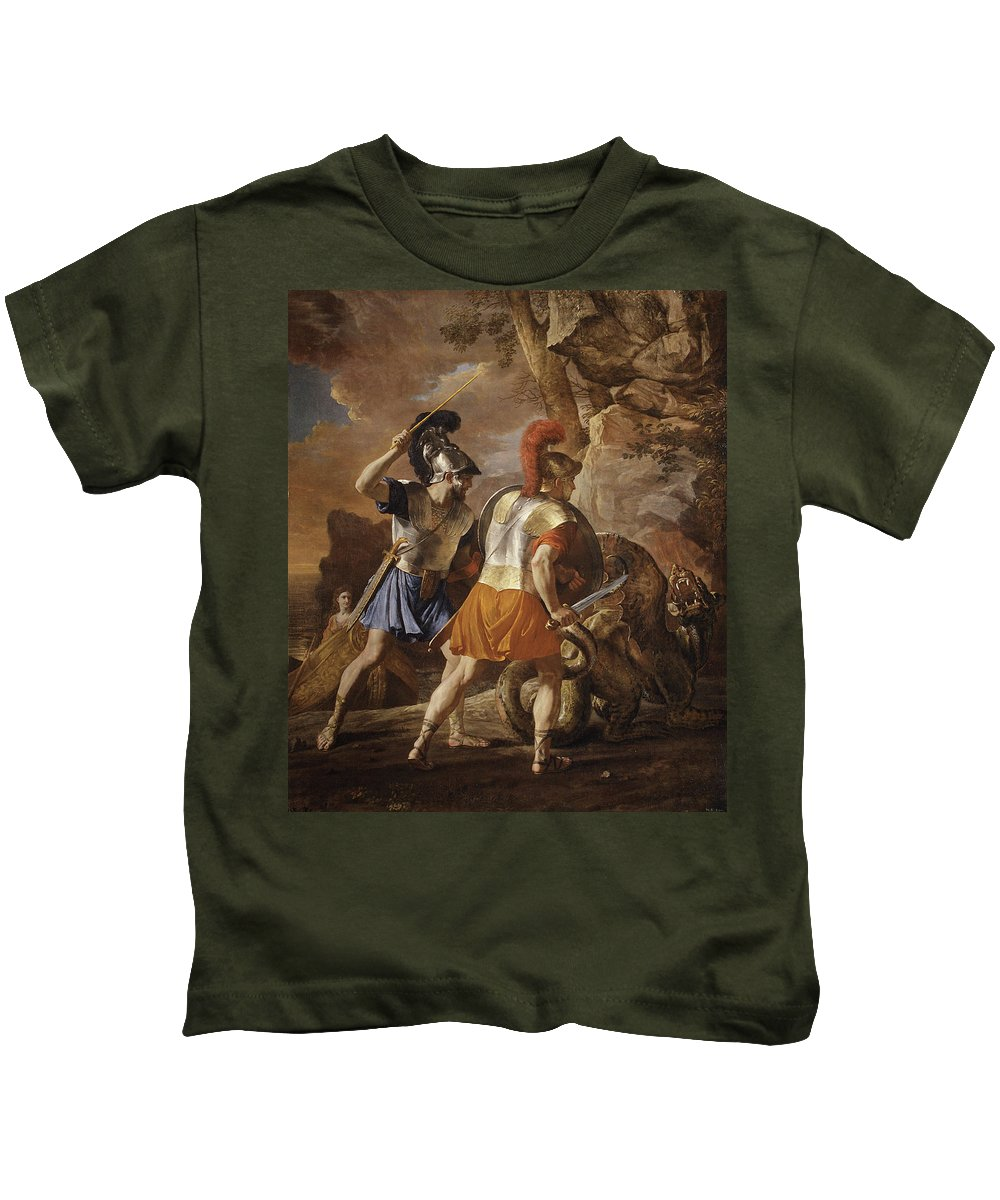 The Companions Of Rinaldo Kids T-Shirt featuring the painting The Companions Of Rinaldo by Nicolas Poussin