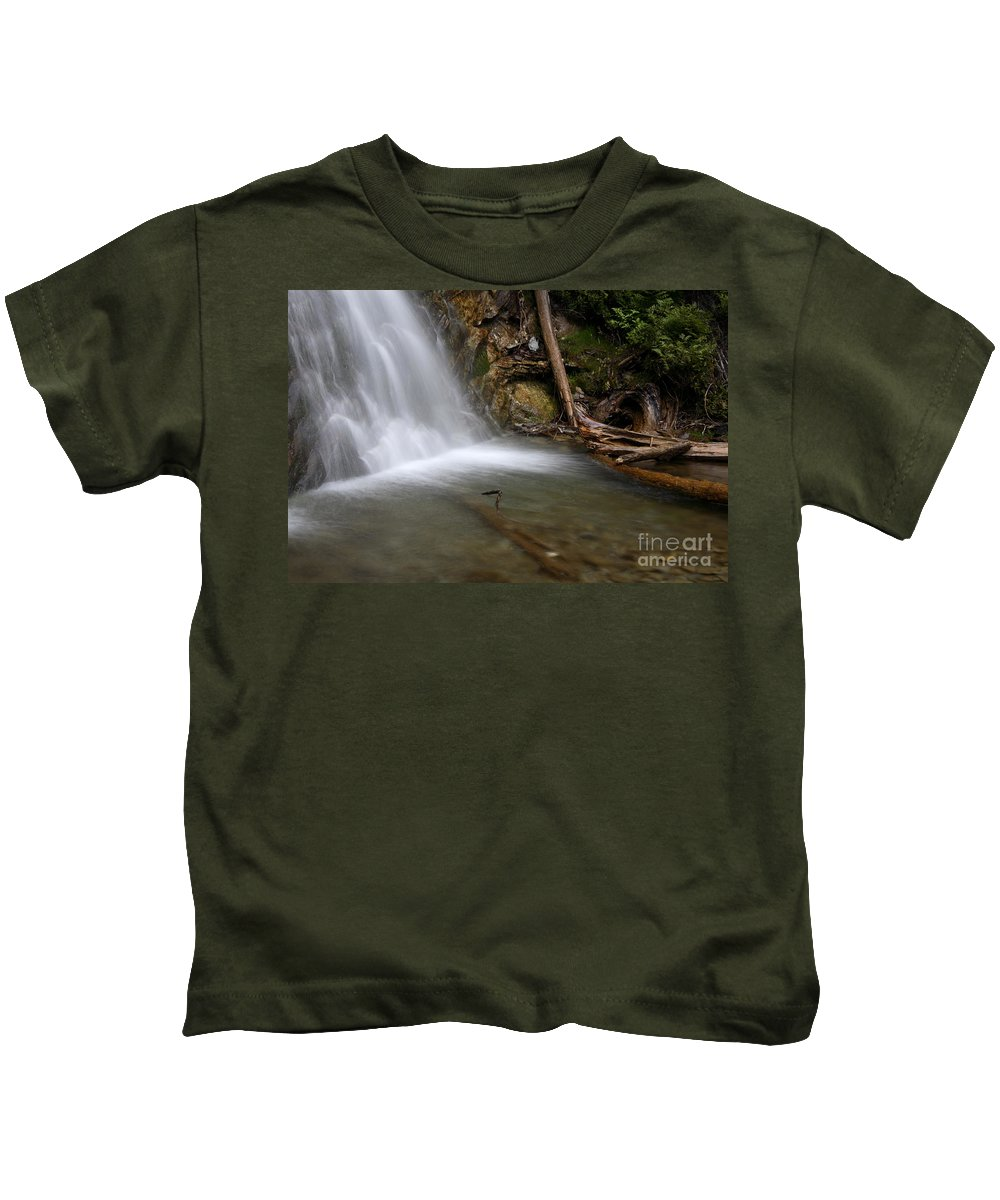 Waterfall Kids T-Shirt featuring the photograph Waterfall, Quebec by Ted Kinsman