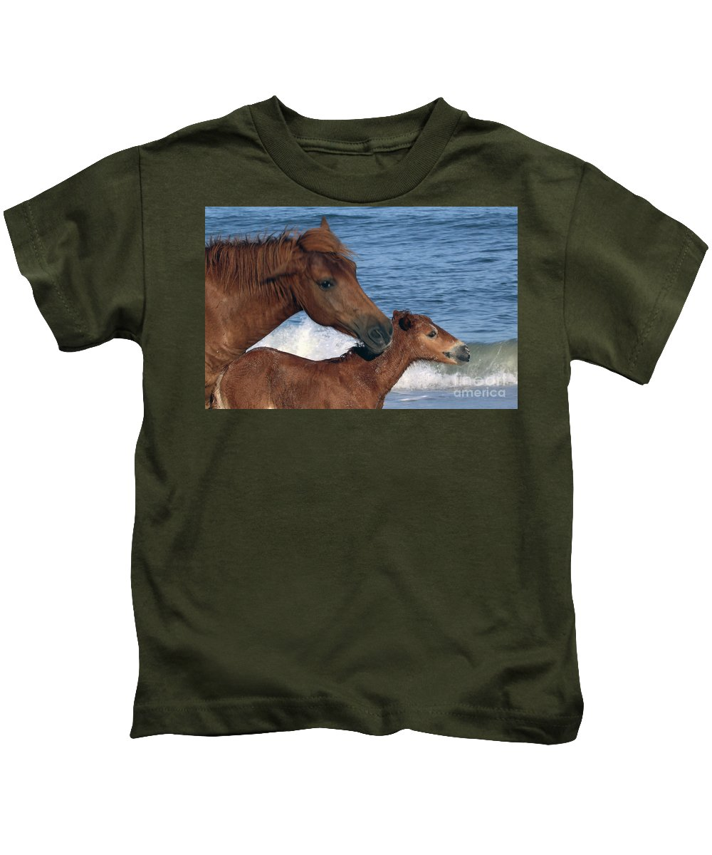 Horses Kids T-Shirt featuring the photograph 556b by Timm Andrews