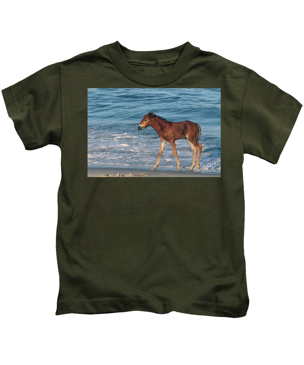 Horses Kids T-Shirt featuring the photograph 597a by Timm Andrews