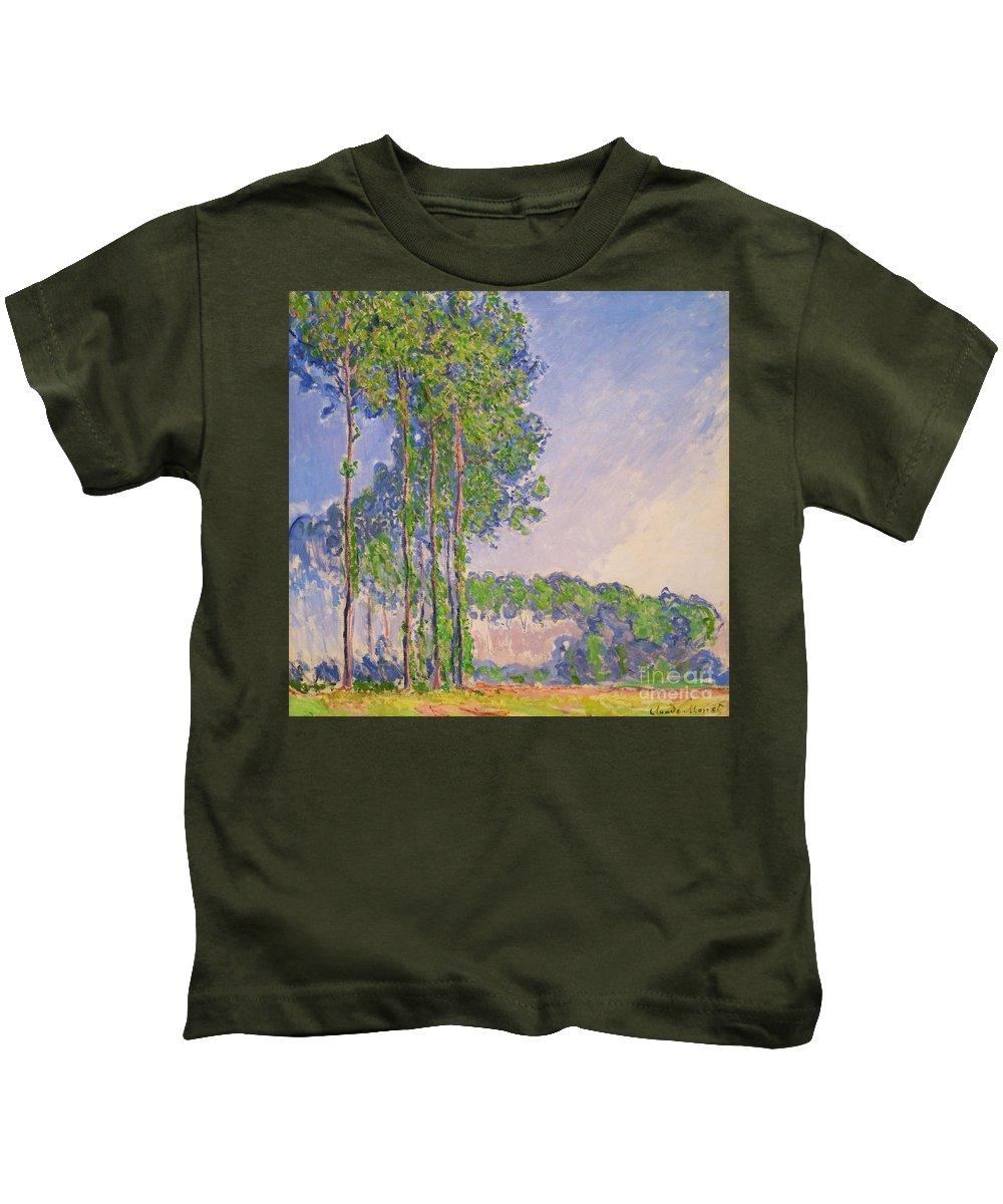 1891 Kids T-Shirt featuring the photograph Poplars by Claude Monet