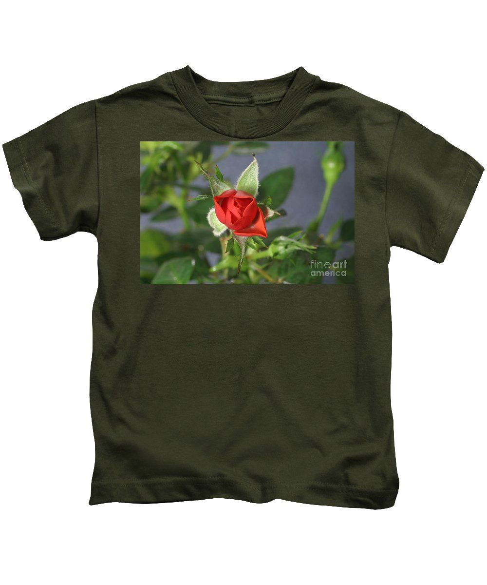 Flora Kids T-Shirt featuring the photograph Red Rose Blooming by Ted Kinsman